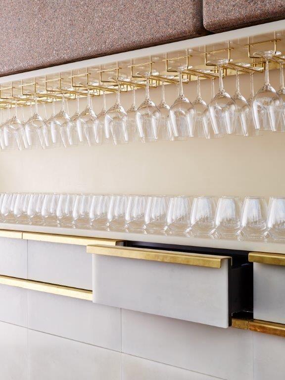 Bennelong Restaurant, Sydney Opera House. Table tops, Joinery cladding, Bench tops Brett Stevens Photography