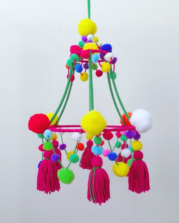 Pom Pom Chandelier for baby's room by LilMeegs on Etsy