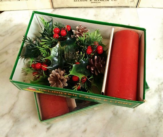"""$36.95.  Where can you buy VINTAGE RED CHRISTMAS CANDLES with HOLLY GARLAND RINGS? Here and this DELIGHTED (LIMS)? ORIGINAL was MADE IN BRITISH HONG KONG by Sprouse-Reitz Co. inc. Portland Oregon. The unused 5"""" tall candle is red and comes in the original box. The garland ring accent is circular and slips over the candle to accent the base. It's never 2 early 2 buy #Christmas🎄decorations! #VINTAGE RED CHRISTMAS #CANDLES🕯️w HOLLY GARLAND RINGS. 🤠#mytesoros…"""
