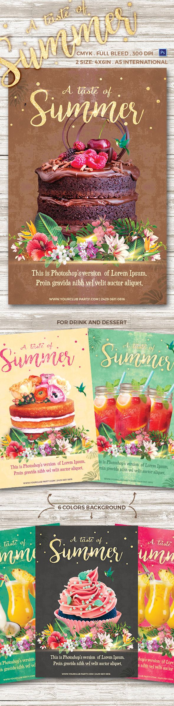 A Taste of Summer Flyer Template bakery, beach, blue, cake, candy, chocolate, cocktail, Cup Cake, dessert, drink, flowers, fruits, green, holiday, ice cream, juice, leaves, mousse, pink, promotion, restaurant, summer, sunny, sweet, tart, taste, Tiramisu, tropical, turquoise, waffle
