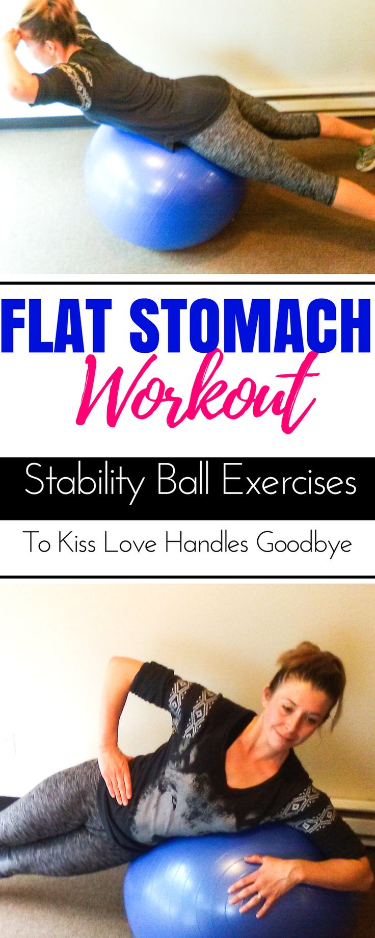 This stability ball ab workout is perfect for beginners for abs. Banish muffin tops and mummy tummy and get a flat belly after pregnancy at home or in gym. This exercise ball workout is your plan for losing weight with ab exercises as a postpartum workout even targeting lower abs. Beginner workouts for weight loss on this website. #flatbelly #postpartumfitness #exerciseball #stabilityball