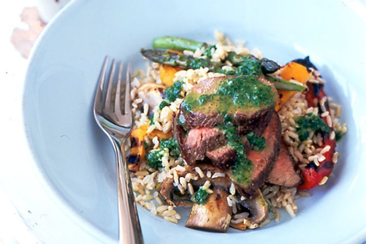 Warm lamb & rice salad with basil dressing