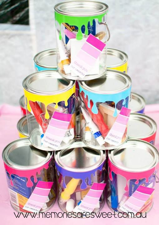 Paint Drips for Paint Tin Favor Boxes | Birthday Party Styling by It's A Cake Thing | Drips supplied by Memories are Sweet www.memoriesaresweet.com.au www.facebook.com\memoriesaresweet
