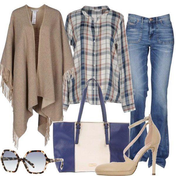 Jeans modello bootcut, lavaggio scuro, abbinato ad una camicia a manica lunga, fantasia a quadri beige e blu con collo a V e ad una mantella a tinta unita, monopetto, senza tasche e con scollatura profonda. Ho scelto un décolleté beige in pelle con cinturino alla caviglia, punta tonda, suola di gomma e tacco a stiletto, una shopper in similpelle a fantasia bicolore con doppio manico; per finire un occhiale da sole Prada, montatura in plastica, stile rettangolare con lente sfumata.