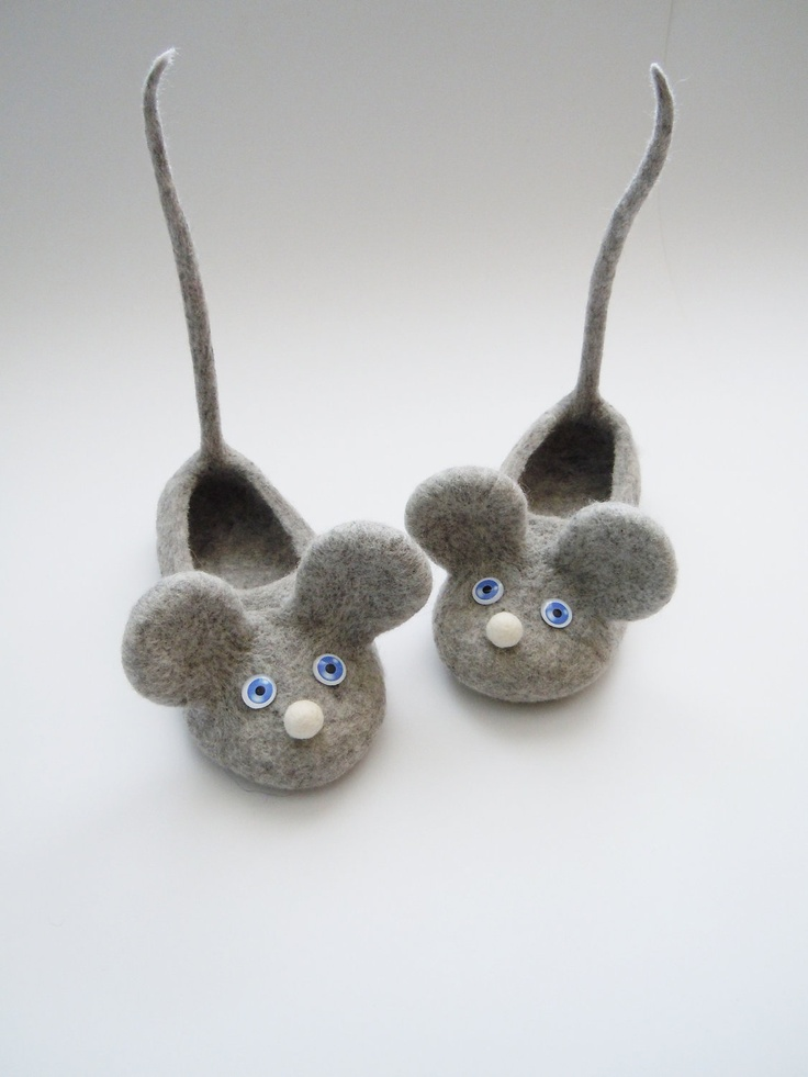 Felted kids slippers MOUSES WITH TAILS!