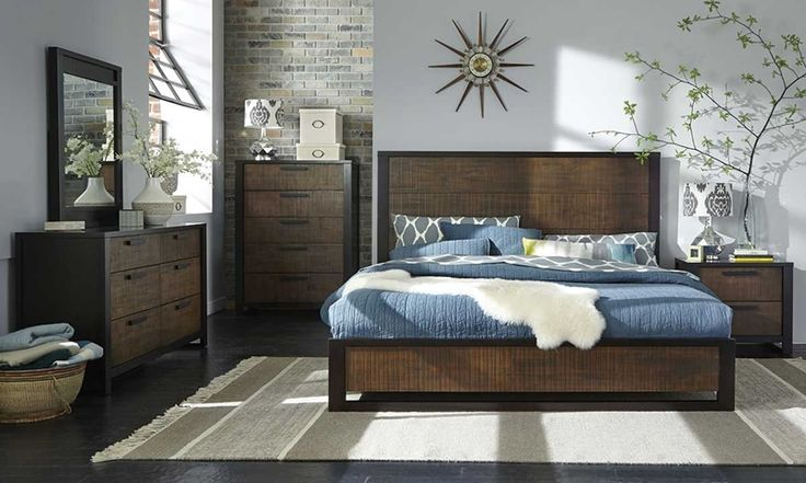Queen bedroom collection in mahogany solids and veneers in a reclaimed finish, includes queen bed, 6-drawer dresser, and portrait mirror.