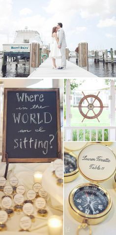 Here is the most gorgeous way to direct wedding guests to their table! Heather and Mike's nautical Florida wedding was full of beautiful details like this ships wheel and these adorable compasses to help guests find their seats. Photographed by Jessica Lorren.