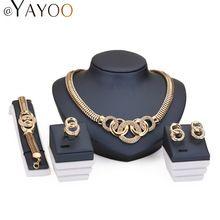 Perlas Africanas Sistemas de la joyería Para Las Mujeres 18 K Chapado En Oro Nupcial Ronda Collar Pulsera Pendientes de Cristal…