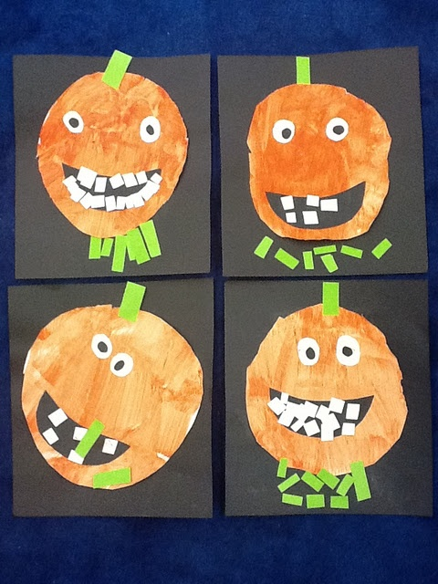 artisan des arts junior kindergarten adorable grinning jack o lantern art - Halloween Art For Kindergarten