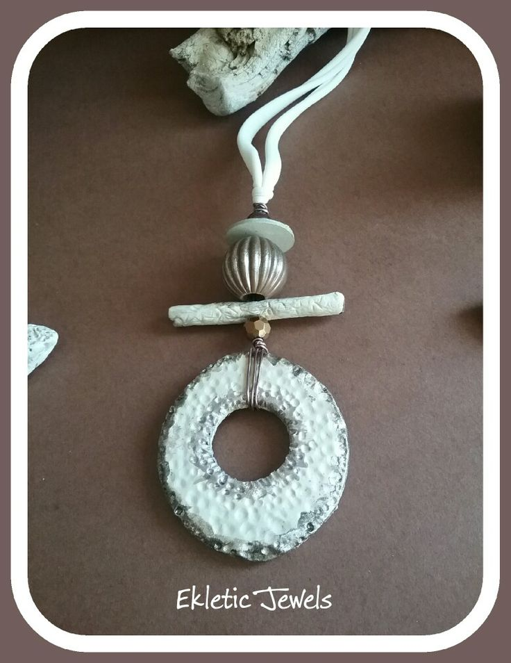 Handmade pendant necklace clay rustic primitive
