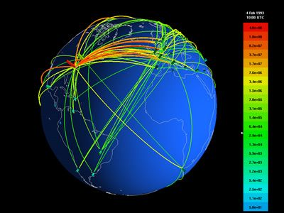 visualcomplexity.com | 3D Geographic Internet network Display