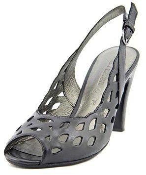 Gerry Weber Sascha 06 Women Peep-toe Leather Black Slingback Heel.