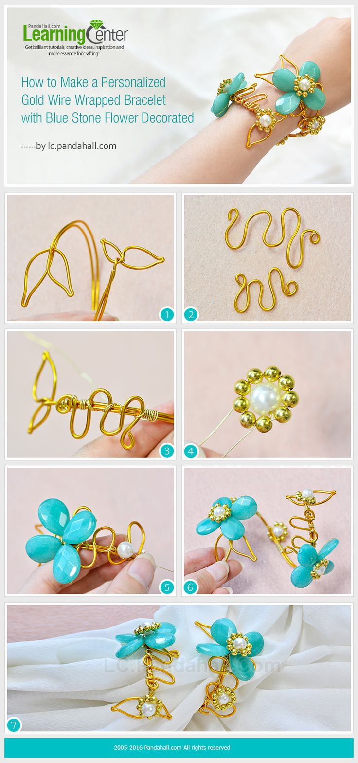 How to Make a Personalized Gold Wire Wrapped Bracelet with Blue Stone Flower Decorated from LC.Pandahall.com