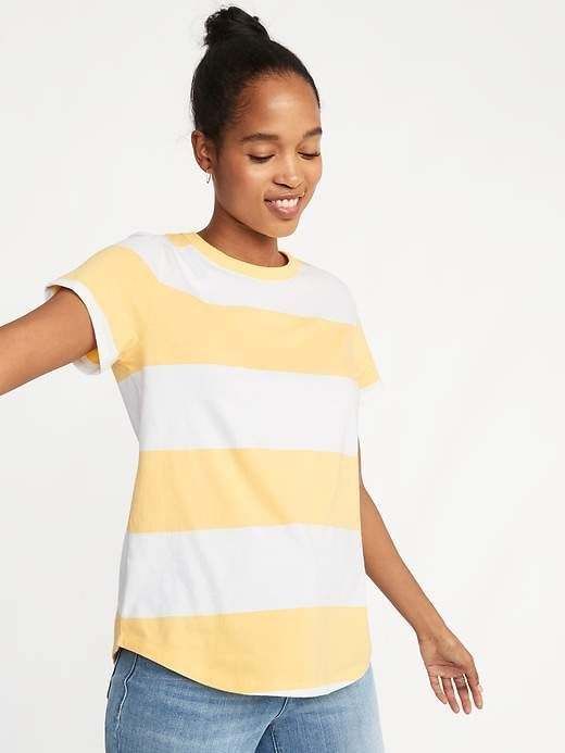 f53527b0b8 Old Navy Women's Everywear Rugby-Striped Tee Navy Stripe Regular ...