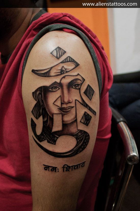 Lord Shiva in Tibetan Om, Designed and Inked by Sunny at Aliens Tattoo, Mumbai. Client got Andy Shou's(Tattoo Artist) famous Buddha's tattoo artwork from Google search and just wanted to replace God Buddha with Lord Shiva in it. Had to recreate the artwork as per client's design brief and here is the output. Hope you all liked it. www.alienstattoos.com
