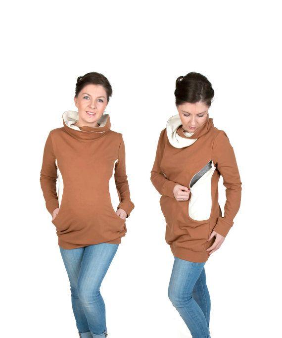3 in 1 Maternity Pregnancy Sweatshirt Multifunctional Nursing Breastfeeding TUNIC WRAPAROUND TOP with zippers S/M brown/ecru