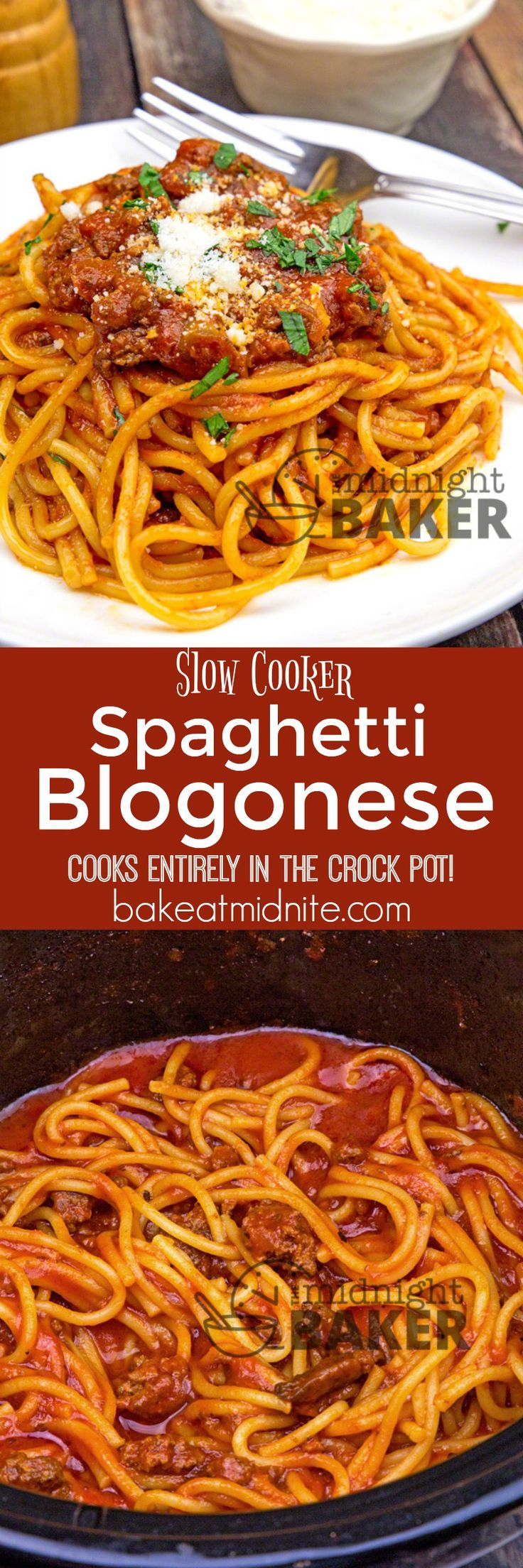 This delicious spaghetti bolognese cooks completely in your slow cooker. Kid and adult friendly and sure to become a family favorite!