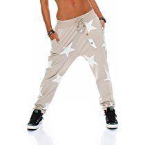malito Boyfriendhose Star mit Knopfleisten Baggy Hose Sweatpants Jogginghose Sporthose Freizeithose Pants Shorts Fitness Yogapants Jogger Unisex 3303 Damen One Size