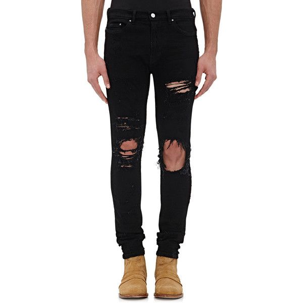AMIRI Men's Distressed Shotgun Jeans ($890) ❤ liked on Polyvore featuring men's fashion, men's clothing, men's jeans, guys clothes, men, pants, black, mens slim cut jeans, mens slim jeans and mens destroyed jeans