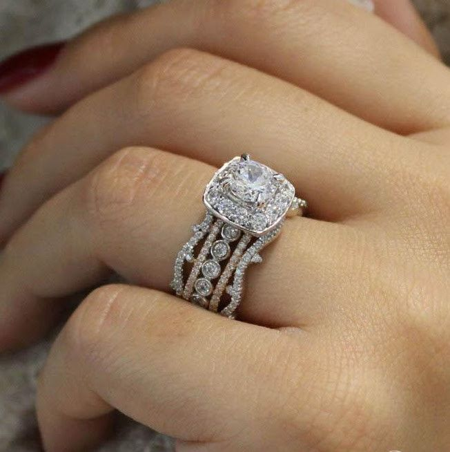 18K Rose and White Gold Stacked Vintage 5-Band Style Diamond Engagement Ring