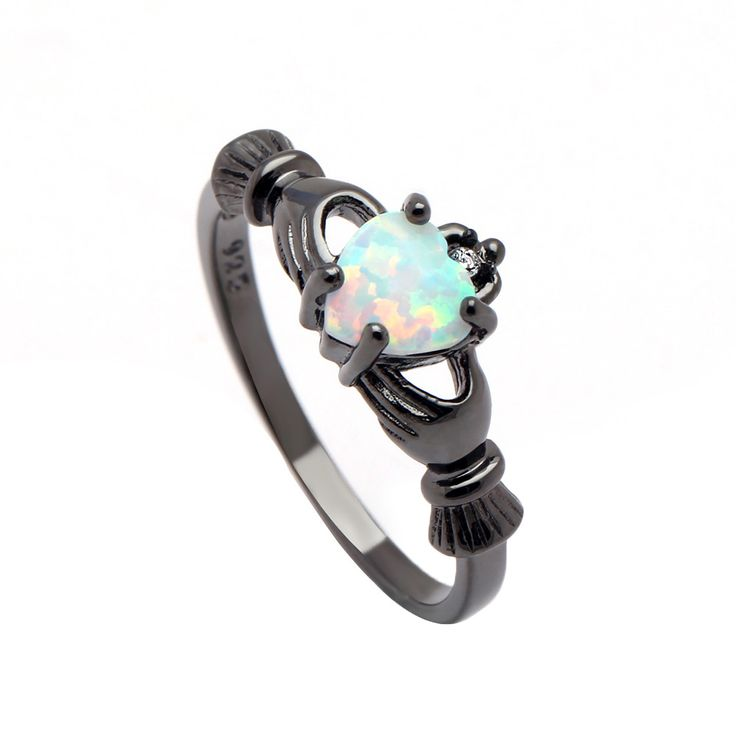 Hot hand princess crown opal white black gun plated for women wedding gift fashion jewelry drop shipping size 7-9 rings jewelry