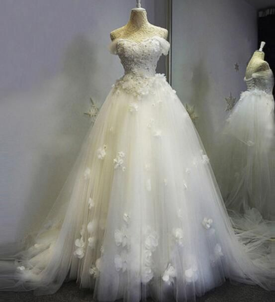 Beautiful White #Tulle and #Floral Lace Applique Off Shoulder #Bridal Gowns, #Weddings #weddingDress , Prom #Dresses