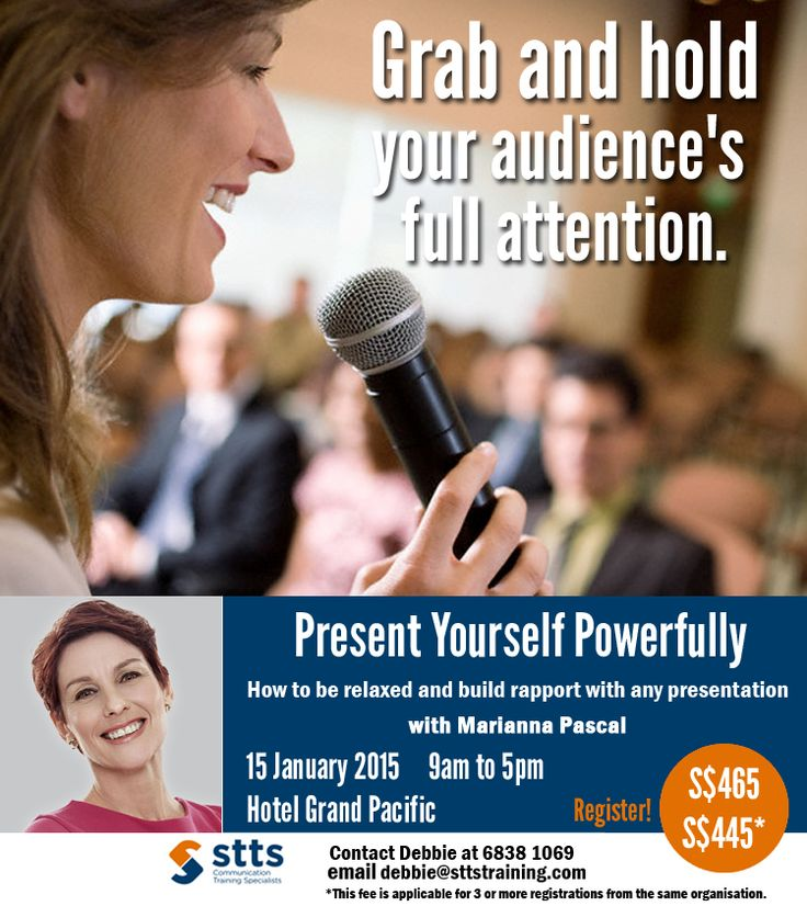In this eye-opening workshop, you'll discover how you come across to others! You'll be surprised to know what impression you make by the way you stand, move and speak. This new self-awareness is the starting point to becoming the engaging presenter you've always dreamed of being.   Discover more here http://bit.ly/pyp-workshop  For enquiries, contact Debbie at 6838 1069 or email debbie@sttstraining.com