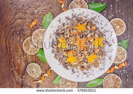 Kutya on Eve holiday. Christmas porridge on wooden background. Wheat porridge which  on Eve Christmas.