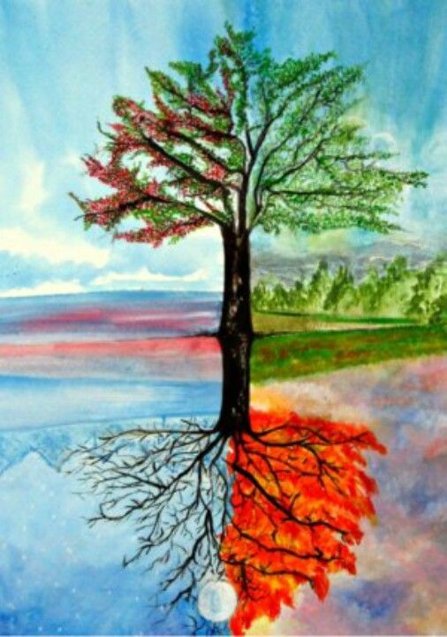 My Art ... Four Season Tree .. Acrylic Painting