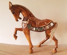 Rustiek decoratief  houten paard