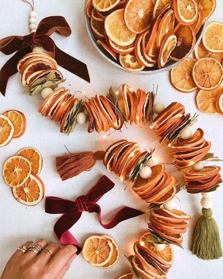 DIY dried orange garland Erica Chan Coffman