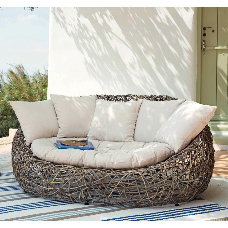 Canapé de jardin 2 places en rotin Kubu et coussins gris Bangkok | Maisons du Monde