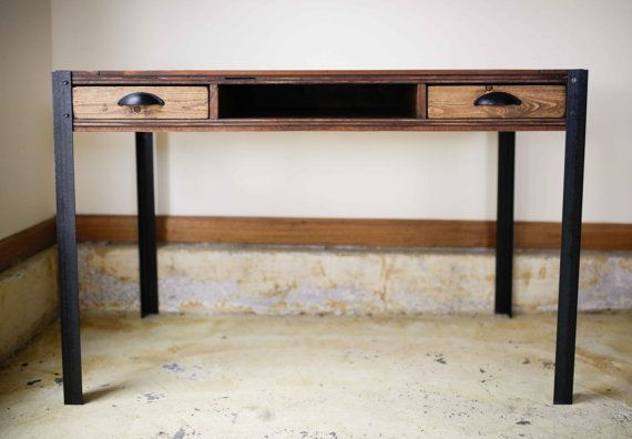 Plataforma de escritorio madera con dos cajones y estante central