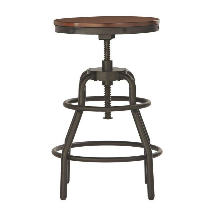 Home Decorators Collection Industrial Mansard Adjustable Stool in Black-0559400210 - The Home Depot