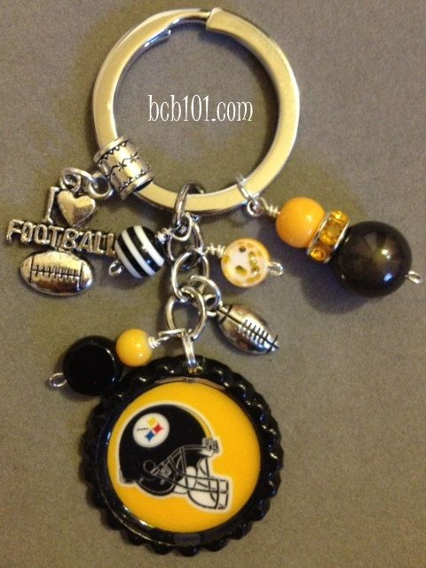 Pittsburgh Steelers inspired bottle cap key chain, NFL, football, sports, bling, black and yellow, girly, gift, fantasy football. $16.00, via Etsy.