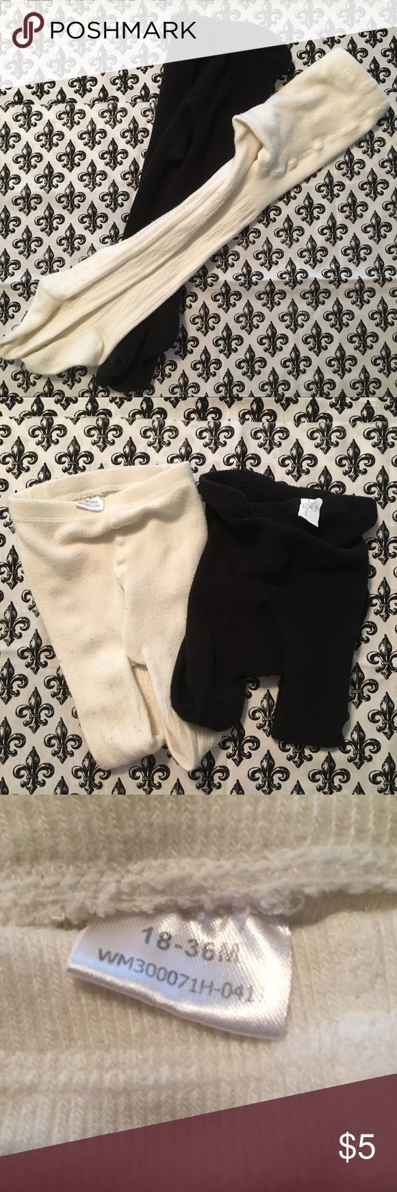 🎃 Lot of 2 Thick Tights in Black/Off White Features: Two pair of thick tights one black one off white. Always great to keep around and these are a steal with October's 5🎃/$10 Sale going on!  Condition: Good, Used Fit: 18-36 Months per tags but with experience I personally would only size these between 18-24 Months.   YOUR BUSINESS IS MY BUSINESS: I only want to sell you the best quality used or like-new items for your buck--full disclosure policy on FLAWED items. Accessories Socks & Tights