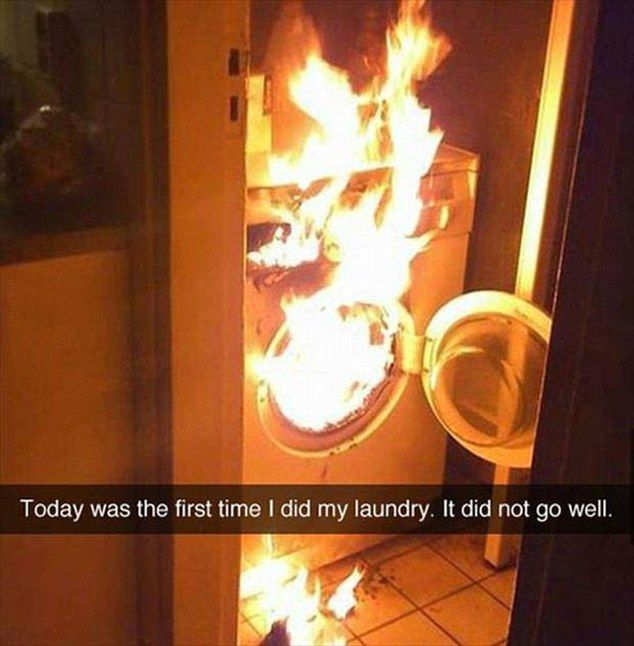 Someone shared a photo of their washing machine completely on fire, with the caption 'Toda...
