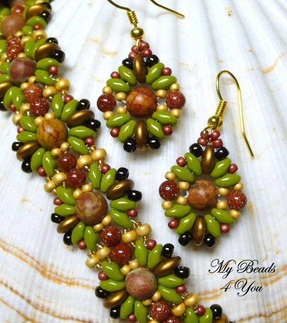 Braccialetto di perline, SuperDuo bracciale, SuperDuo orecchini, seme orecchini, Tutorial perline, perline, Beadwoven bracciale, regalo di festa insieme