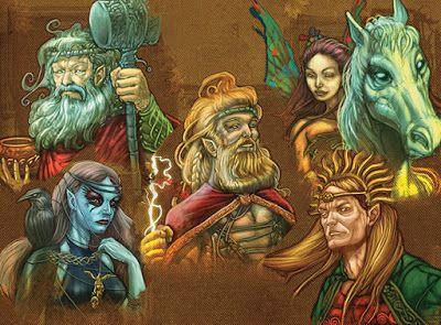 5 deidades celtas: Afallach: dios de los infiernos- Anu: diosa de la fertilidad- Belenos: dios del sol- Bran Fendigaid: dios de la regeneración- Gofannon: dios de la metalistería.