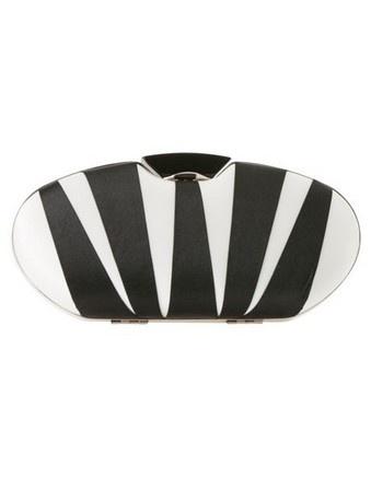 MORGAN & TAYLOR Oval Stripe Clutch in black #derbyday #myerspringfashion