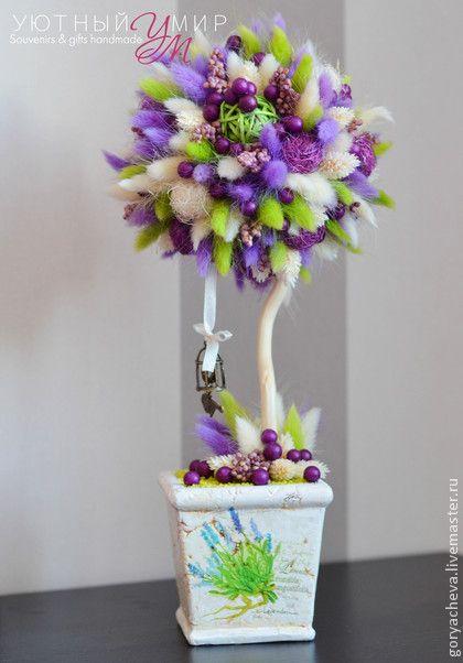 """Купить Топиарий """"Лавандыш"""" - топиарий, топиарий дерево счастья, топиарий из сухоцветов, европейское дерево"""