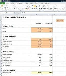 This DuPont analysis calculator splits the return on equity (ROE ) into 5 ratios to show the impact on the owners level of return. Free Excel download.
