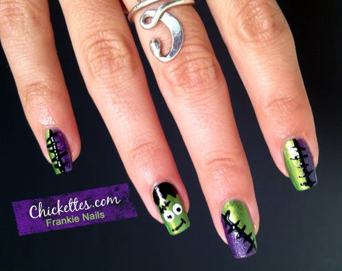 Chickettes.com: Halloween Nail Art - Frankenstein - 127 Best Nail Art~Halloween Images On Pinterest Rouge, Acrylics