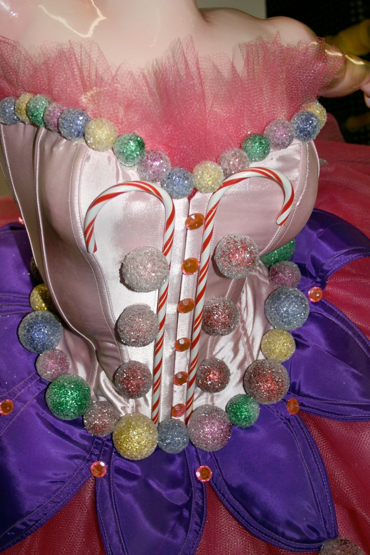 Torso detail of a Sugar Plum Fairy who will be featured in a Nutcracker themed holiday display.