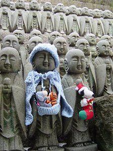 Jizo Statues at Hase Dera temple in Kamakura, Japan.