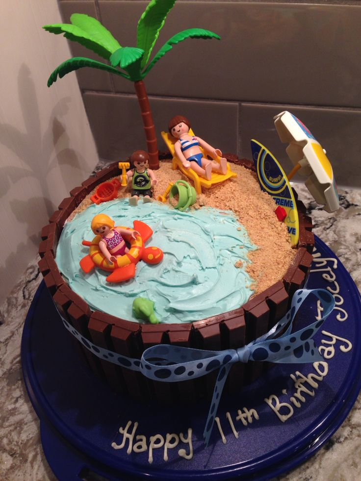 Kit-Kat cake with playmobil beach scene! I Had fun with this one!