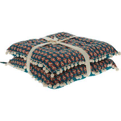 Set Of Two Multicoloured Pom Pom Seat Pads 45x45cm
