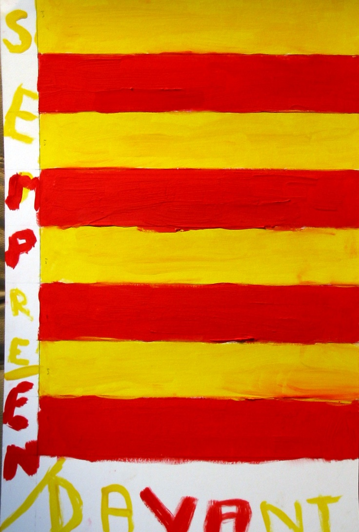 Artwork by Habi B. Bouhassoun, 13. of Sister City Perpignan, France.  reflects the bright sun-drenched colors of the city of Perpignan in the Catalan area of France, and the snow-capped glacial terrain of the nearby Pyrennes. The Sister Cities student artwork was displayed at the Robarts Arena Hands of Heritage Fest in 2003