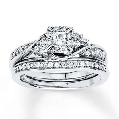 Diamond Bridal Set 1/2 ct tw Princess-cut 10K White Gold