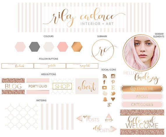 53 pezzi Rose Gold Blush Glitter Script Boutique Logo Makeover / Branding Kit / Blog Kit / Kit di progettazione di sito Web / Business Stationery